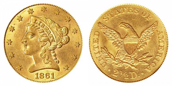 1861 Liberty Head $2.50 Gold Quarter Eagle - Old Reverse - Type 1