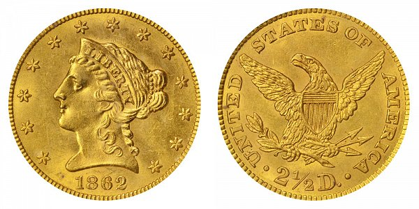 1862/1 Liberty Head $2.50 Gold Quarter Eagle 2 1/2 Dollars - 2 Over 1 Overdate