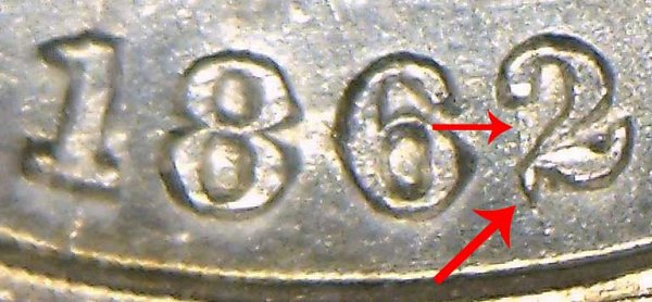 1862/1 Silver Three Cent Piece Trime - 2 Over 1 Overdate Error