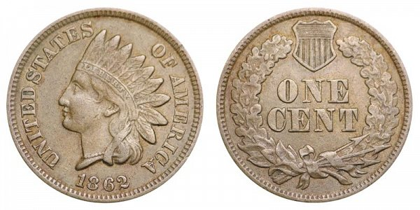 1862 Indian Head Cent Penny - Copper-Nickel CN
