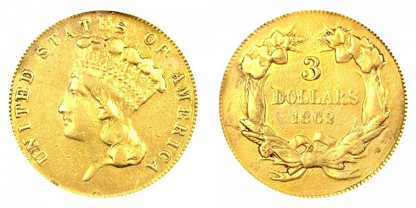 1862 Indian Princess Head $3 Gold Dollars - Three Dollars