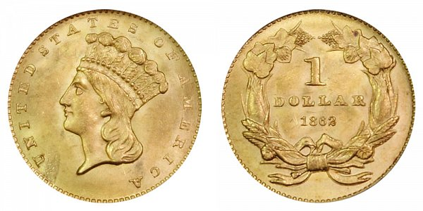 1862 Large Indian Princess Head Gold Dollar G$1
