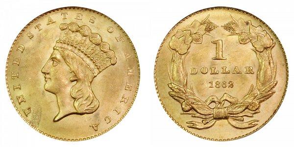 1862 Large Indian Princess Head Gold Dollar G$1