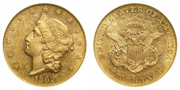 1862 Liberty Head $20 Gold Double Eagle - Twenty Dollars