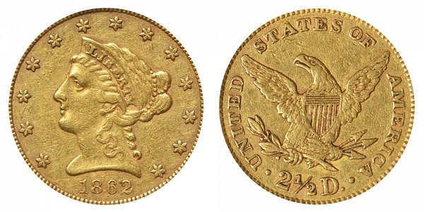 1862 Liberty Head $2.50 Gold Quarter Eagle - 2 1/2 Dollars