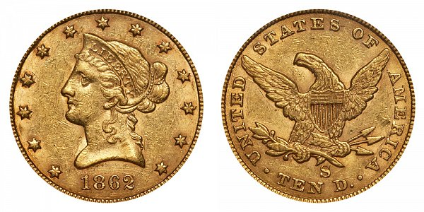 1862 S Liberty Head $10 Gold Eagle - Ten Dollars