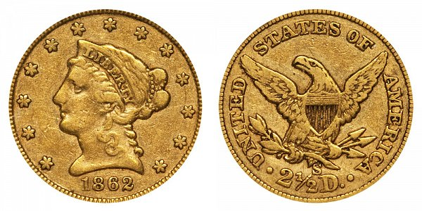 1862 S Liberty Head $2.50 Gold Quarter Eagle - 2 1/2 Dollars