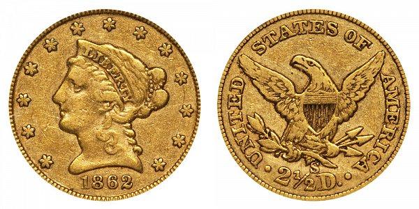 1862 S Liberty Head $2.50 Gold Quarter Eagle - 2 1/2 Dollars