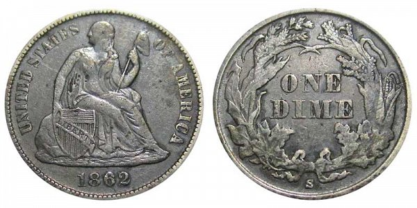 1862 S Seated Liberty Dime