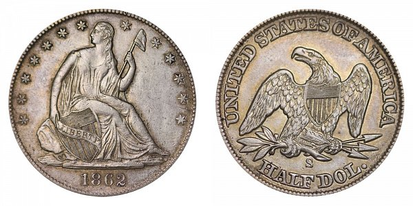1862 S Seated Liberty Half Dollar