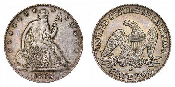 1862 S Seated Liberty Half Dollar