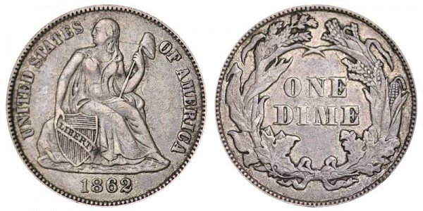 1862 Seated Liberty Dime