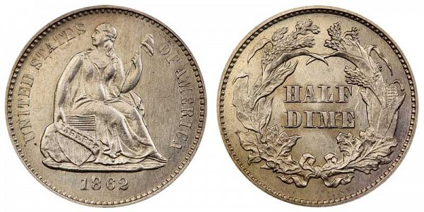 1862 Seated Liberty Half Dime