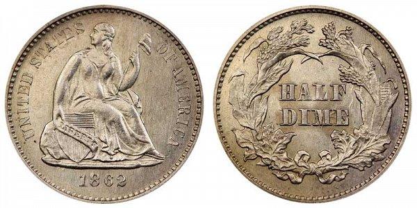 1862 Seated Liberty Half Dime