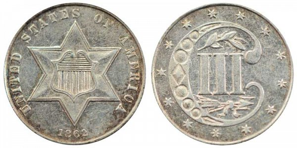 1862 Silver Three Cent Piece Trime