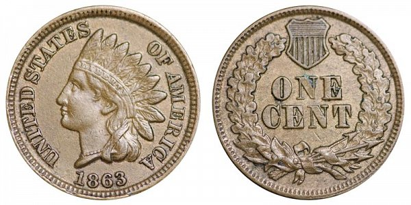 1863 Indian Head Cent Penny - Copper-Nickel CN