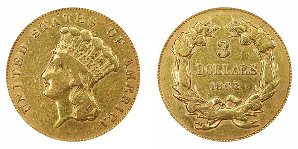 1863 Indian Princess Head $3 Gold Dollars - Three Dollars
