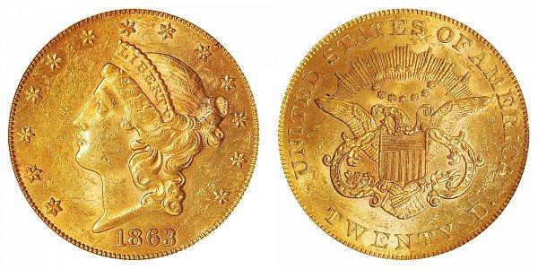 1863 Liberty Head $20 Gold Double Eagle - Twenty Dollars