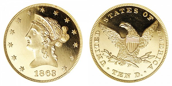 1863 Liberty Head $10 Gold Eagle - Ten Dollars