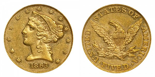 1863 Liberty Head $5 Gold Half Eagle - Five Dollars