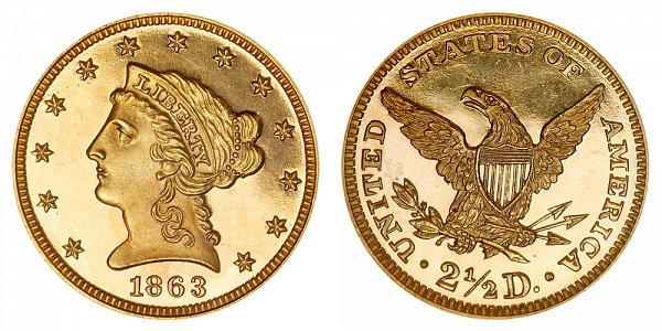 1863 Liberty Head $2.50 Gold Quarter Eagle Proof - 2 1/2 Dollars