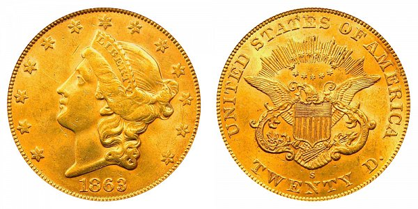 1863 S Liberty Head $20 Gold Double Eagle - Twenty Dollars