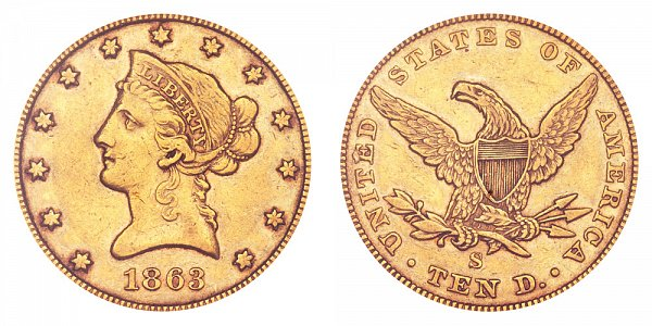 1863 S Liberty Head $10 Gold Eagle - Ten Dollars
