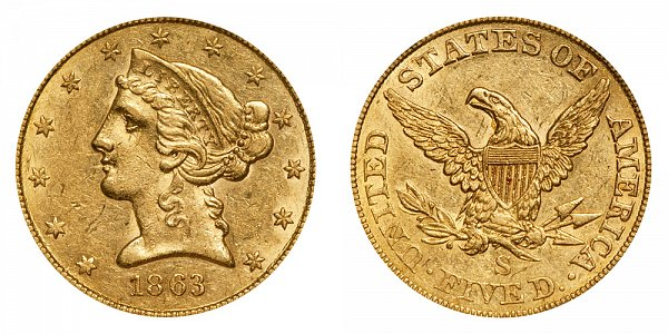 1863 S Liberty Head $5 Gold Half Eagle - Five Dollars