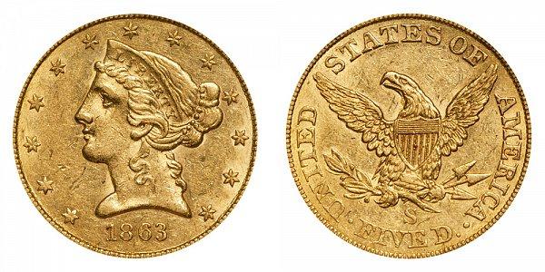 1863 S Liberty Head $5 Gold Half Eagle - Five Dollars
