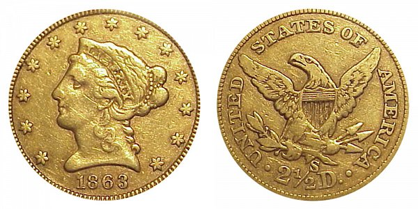 1863 S Liberty Head $2.50 Gold Quarter Eagle - 2 1/2 Dollars