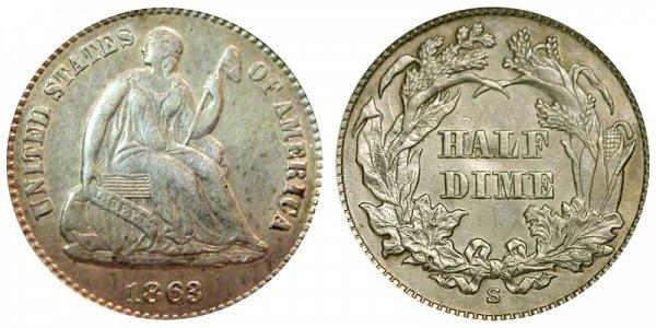 1863 S Seated Liberty Half Dime
