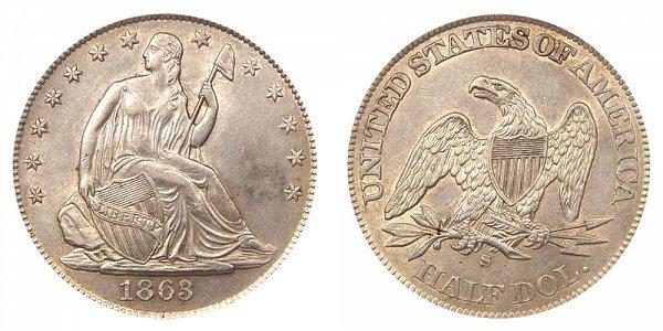 1863 S Seated Liberty Half Dollar