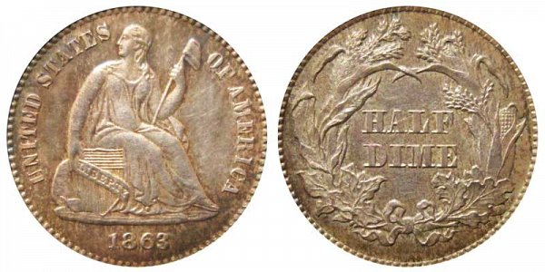 1863 Seated Liberty Half Dime