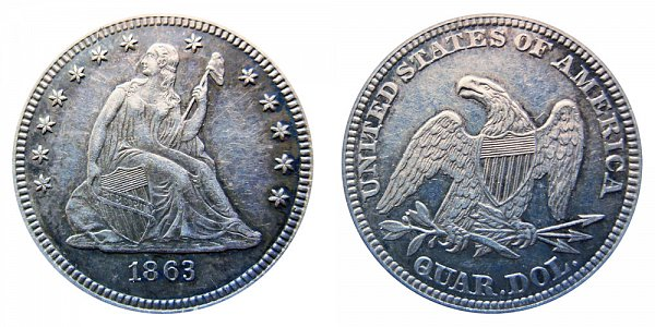 1863 Seated Liberty Quarter