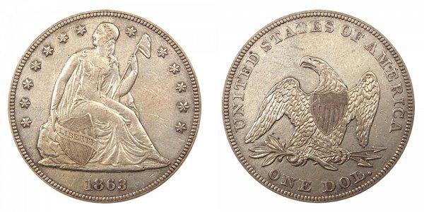1863 Seated Liberty Silver Dollar