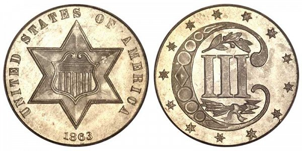 1863 Silver Three Cent Piece Trime