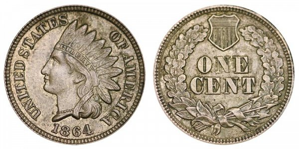 1864 Indian Head Cent Penny - Copper-Nickel CN