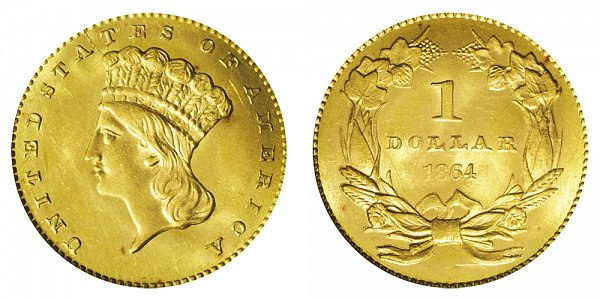 1864 Large Indian Princess Head Gold Dollar G$1