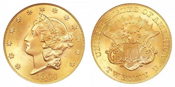 1864 Liberty Head $20 Gold Double Eagle - Twenty Dollars