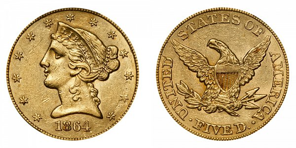 1864 Liberty Head $5 Gold Half Eagle - Five Dollars