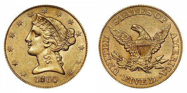 1864 Liberty Head $5 Gold Half Eagle - Five Dollars
