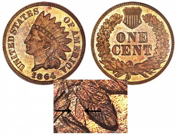 1864 No L Indian Head Cent - Bronze Penny