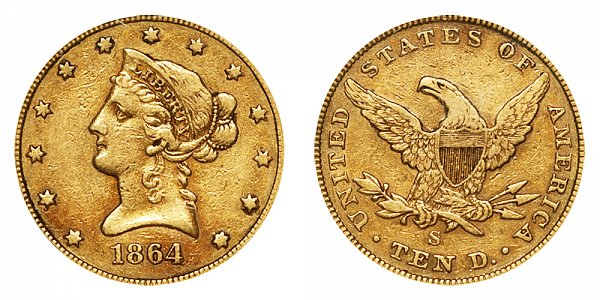 1864 S Liberty Head $10 Gold Eagle - Ten Dollars