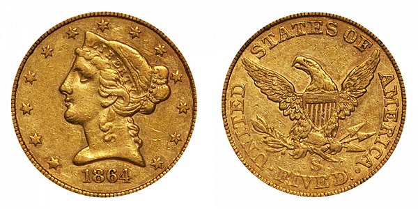 1864 S Liberty Head $5 Gold Half Eagle - Five Dollars