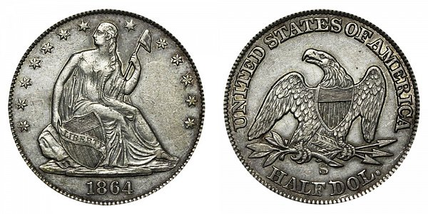 1864 S Seated Liberty Half Dollar