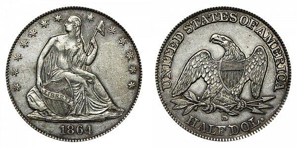 1864 S Seated Liberty Half Dollar