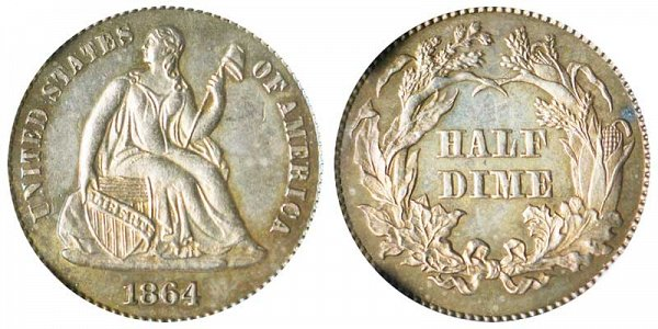 1864 Seated Liberty Half Dime