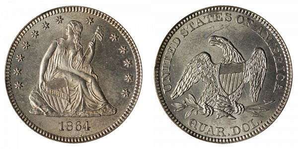 1864 Seated Liberty Quarter