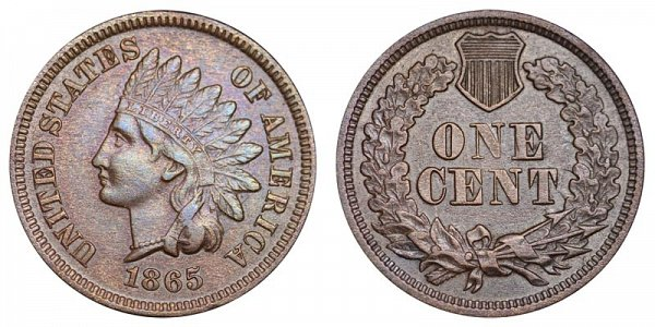 1865 Indian Head Cent Penny