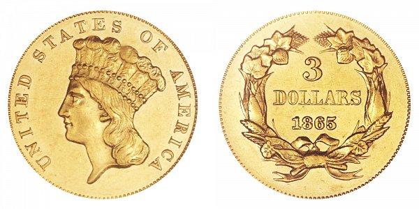 1865 Indian Princess Head $3 Gold Dollars - Three Dollars